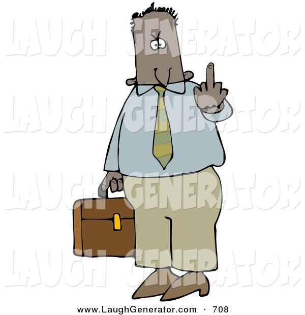 Humorous Clip Art of an Angry Hispanic or Black Business Man Carrying a Briefcase and Flipping Someone off for Being Rude