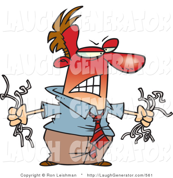Humorous Clip Art of an Angry Red Faced Man Holding Torn Computer Wires, Mad at His Slow Computer