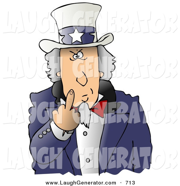 Humorous Clip Art of an Angry Uncle Sam Flipping off the Viewer, on White