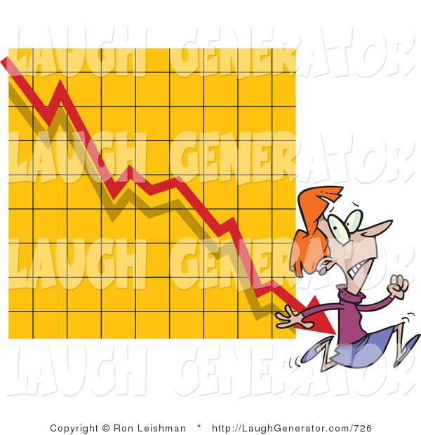 Humorous Clip Art of an Angry Woman Running from a Bar on a Declining Graph