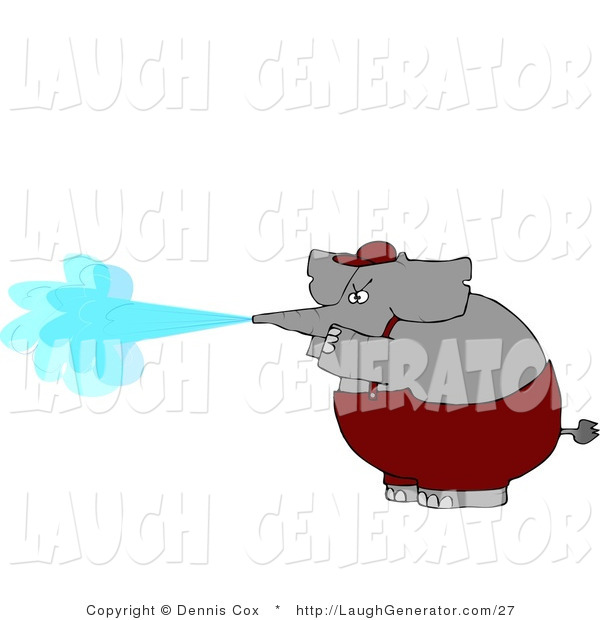 Humorous Clip Art of an Anthropomorphic Elephant Spraying Water from His Trunk like a Pressure Washer