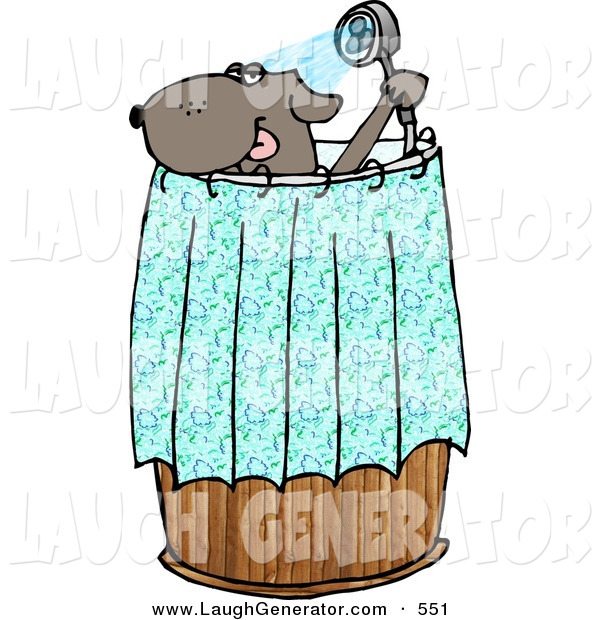 Humorous Clip Art of an Anthropomorphic Pet Dog Showering