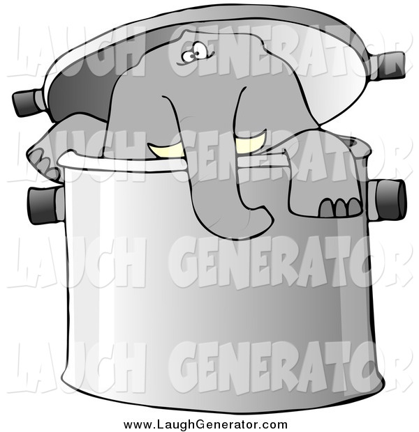 Humorous Clip Art of an Elephant in a Giant Pot