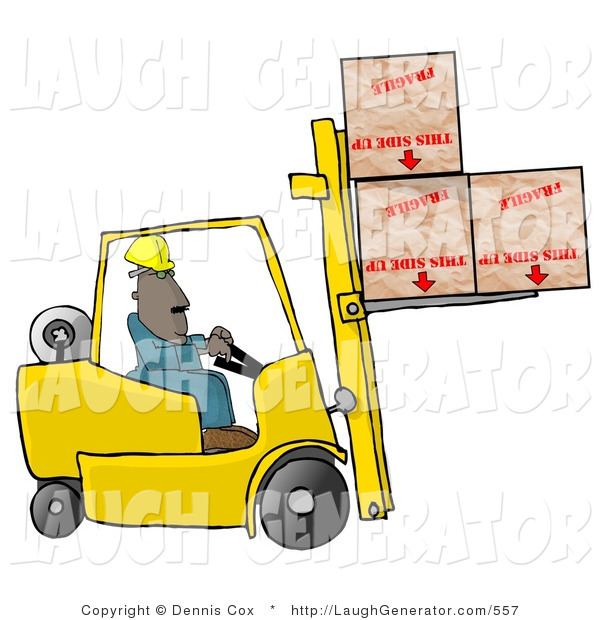 Humorous Clip Art of an Ethnic Forklift Driver Delivering Fragile Boxes Upside down