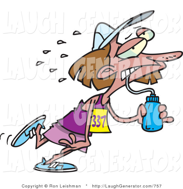 Humorous Clip Art of an Exhausted Brunette Female Marathon Runner Drinking Water