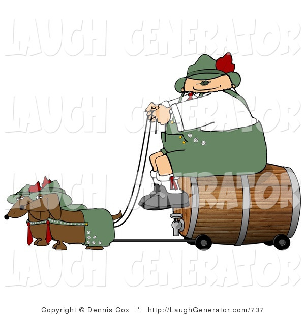 Humorous Clip Art of an Obese German Man Transporting a Wooden Barrel/Keg of Beer to a Party