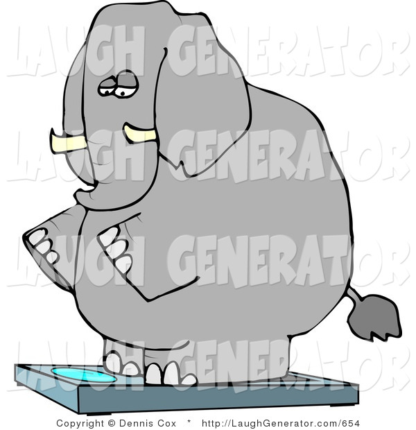 Humorous Clip Art of an Overweight Elephant Standing on a Weight Scale