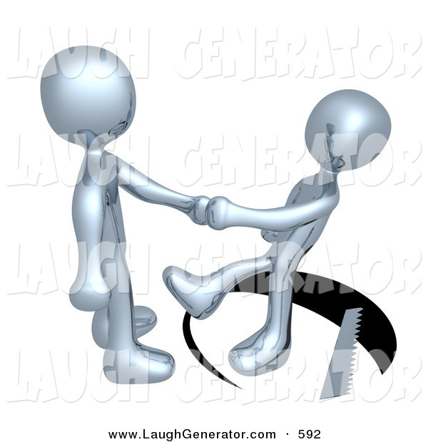 Humorous Clip Art of an Unsuspecting Chrome Man Shaking Hands on a Deal with Another Man As a Saw Cuts a Circle out from Under Him and He Slips on White