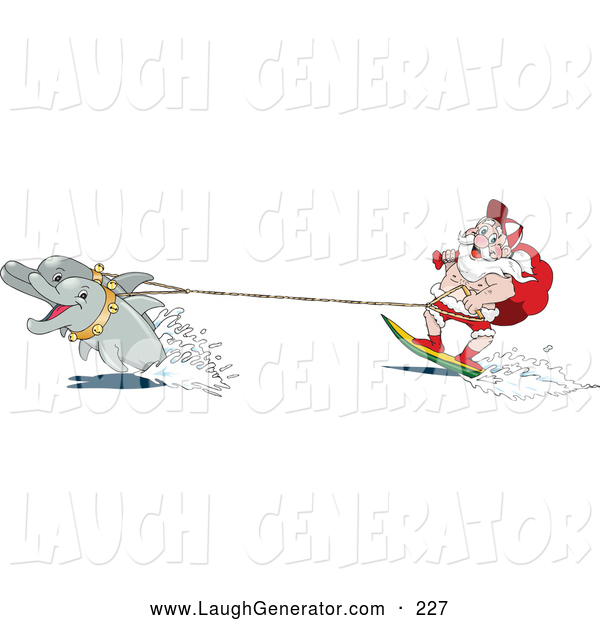 Humorous clip art of dolphins pulling santa on a surfboard by dennis