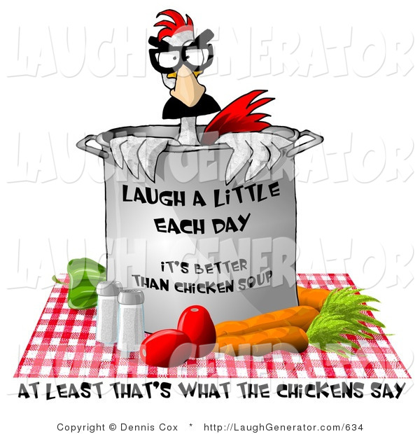 Humorous Clip Art of Fresh Vegetable Chicken Soup on a Picnic Blanket