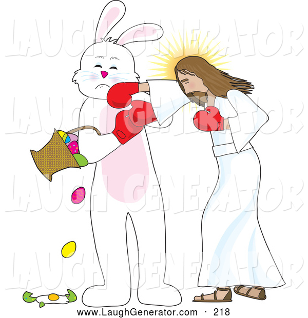Humorous Clip Art of Funny Jesus Boxing with the Easter Bunny, Socking Him in the Face As He Spills and Breaks Eggs from a Basket