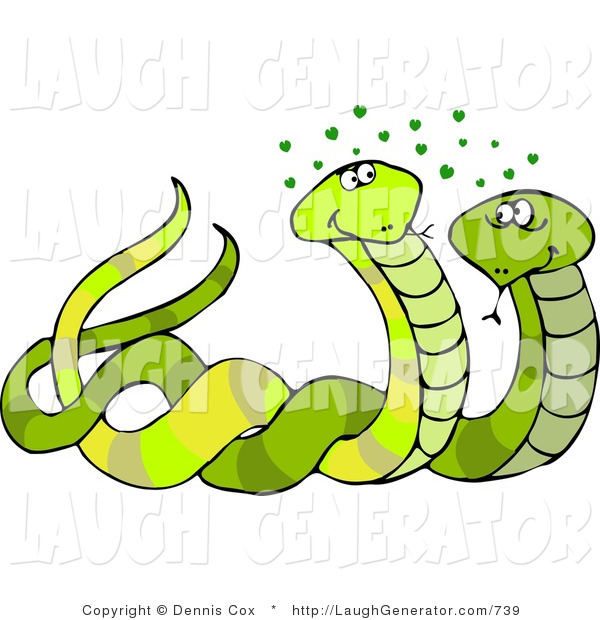 Humorous Clip Art of Green Male and Female Snakes Together