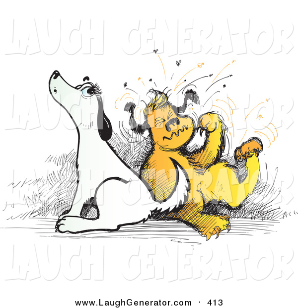 Humorous Clip Art of Itchy Dogs Scratching and Howling