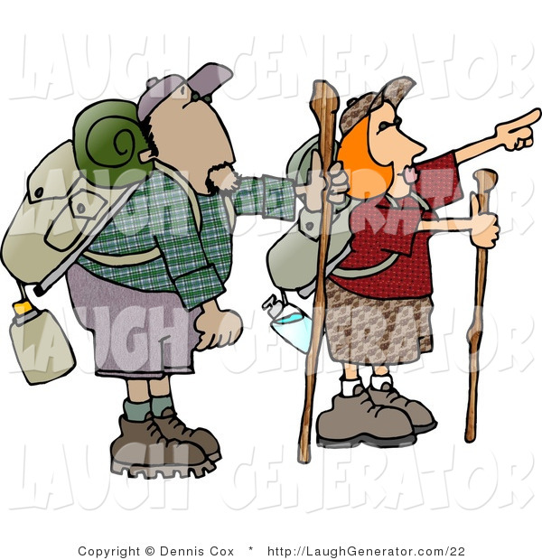 Humorous Clip Art of Male and Female Hikers with Backpacks, Canteens, Sleeping Bags, and Walking Sticks, Hiking and Pointing to Something
