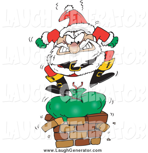 Humorous Clip Art of Santa Angrily Stomping on His Toy Sack to Squish It down the Chimney