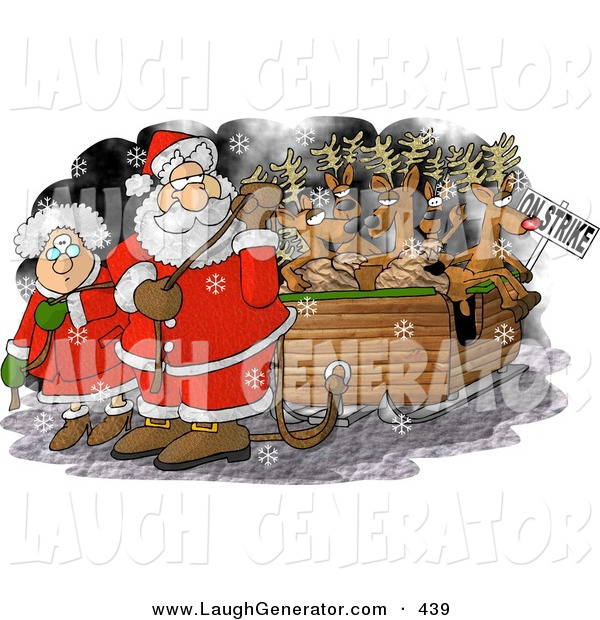 Humorous Clip Art of Santa Claus and Mrs Santa Claus Pulling Toys and Reindeer Santa's Sleigh Because the Reindeer Are on Strike on Christmas