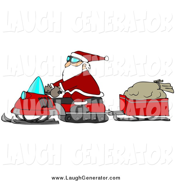 Humorous Clip Art of Santa Claus Snowmobiling