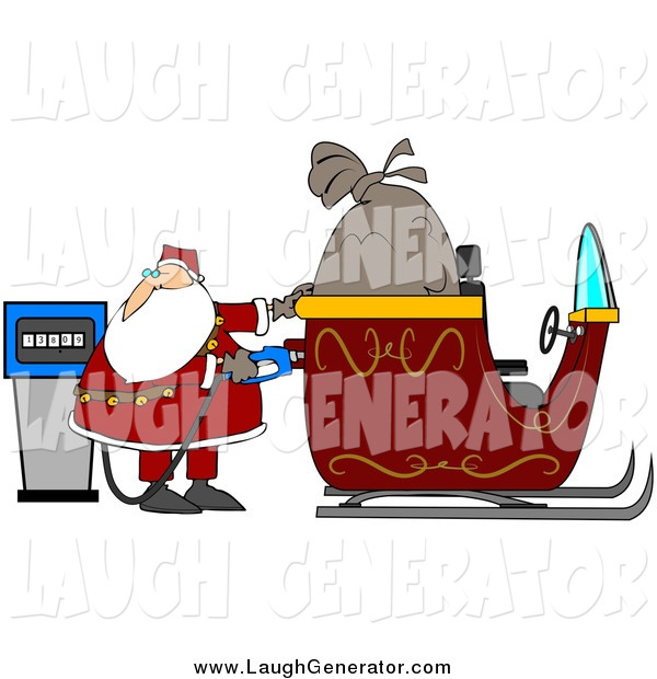 Humorous Clip Art of Santa Claus Watching the Cost Rise on the Gas Pump While Filling His Sleigh with Gasoline on His Delivery Route