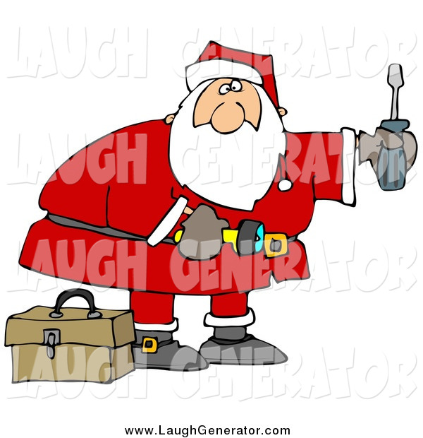 Humorous Clip Art of Santa Looking to Do Home Repairs As a Christmas Gift