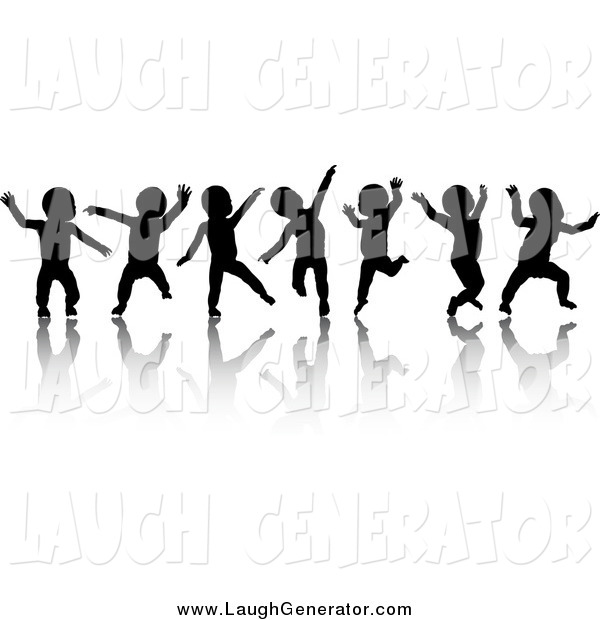 Humorous Clip Art of Seven Black Silhouetted Dancing Babies and Reflections