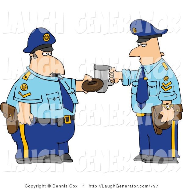 Humorous Clip Art of Two Policemen Toasting Donut and Coffee Cup Together