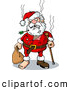 Humorous Clip Art of a Awful Looking Beat up Santa with an Arrow Through His Beard, Missing Teeth, Tears, a Cane, and a Missing Shoe by Holger Bogen
