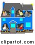 Humorous Clip Art of a Blue House with People Using Computers in Their Own Rooms by Djart