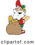 Humorous Clip Art of a Casual Santa Standing with a Sack Full of Cans for Recycling by Dennis Holmes Designs