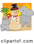 Humorous Clip Art of a Cheerful Snowman for Christmas in the Sahara by Maria Bell