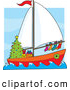 Humorous Clip Art of a Colorful Sailing Sailboat with Hung Stockings, a Wreath Around the Window and Gifts Under a Christmas Tree by Maria Bell