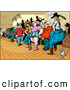 Humorous Clip Art of a Crowd of Rural Country Folk, Men and Women, Line Dancing in a Bar with a Mouse by Holger Bogen
