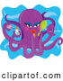 Humorous Clip Art of a Cute Feminine Purple Octopus Applying Lipstick and Holding Cosmetics in Her Tentacles by Maria Bell