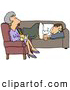 Humorous Clip Art of a Depressed White Man Lying on a Sofa in a Shrink by Djart