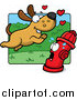 Humorous Clip Art of a Dog Running Towards a Scared Fire Hydrant by Cory Thoman