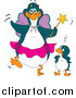 Humorous Clip Art of a Embarrassed Penguin Kid Standing Beside a Fairy Godmother by Dennis Holmes Designs