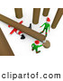 Humorous Clip Art of a Fallen Tree on Top of Poor Santa After an Elf Tries to Cut Firewood by 3poD
