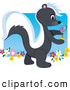 Humorous Clip Art of a Friendly Cute Smelly Skunk Walking in a Flower Garden and Spraying Fragrance by Maria Bell