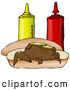 Humorous Clip Art of a Funny Brown Wiener Dog Topped with Pickle Slices, Lying on His Back on a Hot Dog Bun Beside Ketchup and Mustard Bottles by Djart