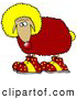 Humorous Clip Art of a Funny Sheep Clown Wearing a Yellow Wig, Red Wool, Yellow Tail and Red Shoes with Yellow Sparkling Stars by Djart