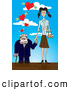Humorous Clip Art of a Goofy Short Senior Man Leaning on a Cane and Holding Hands with a Young Skinny Woman, Walking Under Hearts with Cash by Paulo Resende