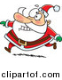 Humorous Clip Art of a Happy Santa Claus Grinning and Running in His Red Suit by Toonaday