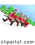 Humorous Clip Art of a Herd of Three Santas Pulling a Reindeer in a Sleigh by 3poD