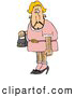 Humorous Clip Art of a Hideous, Hairy Blond Male Cross Dresser with Facial, Arm and Leg Hair, Wearing a Pink Dress and High Heels and Carrying a Purse by Djart