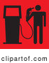 Humorous Clip Art of a Human Figure Holding a Fuel Nozzle up to His Head, Symbolizing Energy and Consumption of Fossil Fuels by Paulo Resende