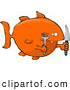 Humorous Clip Art of a Hungry Orange Fish Holding a Knife and Fork by Djart