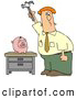 Humorous Clip Art of a Mad Red Haired Caucasian Businessman Holding a Hammer High Above a Piggy Bank on a Table, Prepared to Break the Bank by Djart
