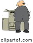 Humorous Clip Art of a Mischievious White Businessman Urinating on a Copier Machine in an Office and Looking Back over His Shoulder by Djart
