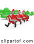 Humorous Clip Art of a Reindeer Riding in a Sleigh, Traveling Through the Forest and Being Pulled by Three Santas by 3poD