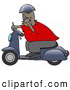Humorous Clip Art of a Rude African American Man Wearing a Blue Helmet, Red Shirt and Brown Pants, Riding past on a Blue Scooter and Flipping the Viewer off by Djart