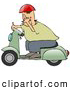 Humorous Clip Art of a Rude White Man Wearing a Red Helmet, Green Shirt and Blue Pants, Riding past on a Green Scooter and Flipping the Viewer off by Djart